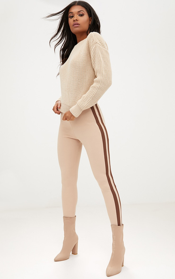 Christiana Stone Mixed Knit Slash Neck Crop Jumper 4