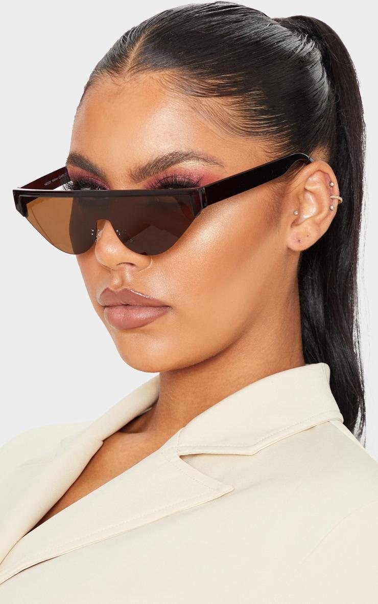 Brown Flat Top Brow Bar Slim Visor Sunglasses