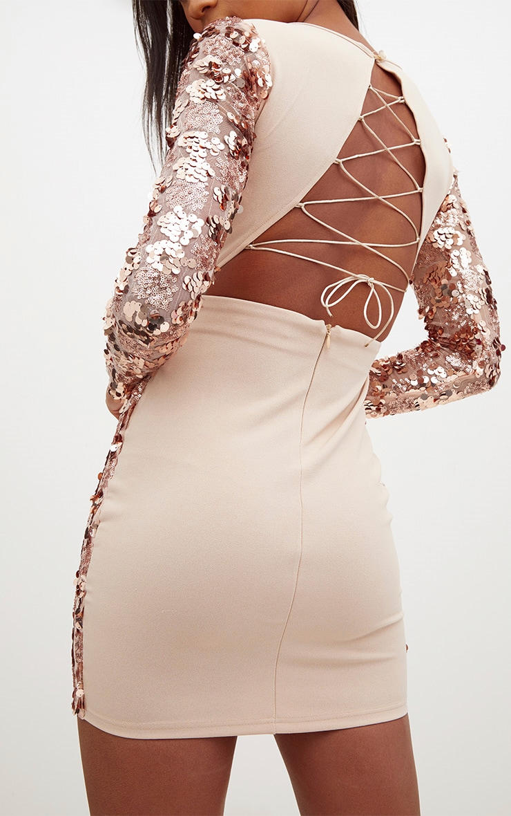 Rose Gold Sequin Front Long Sleeve Back Tie Detail Bodycon Dress 5