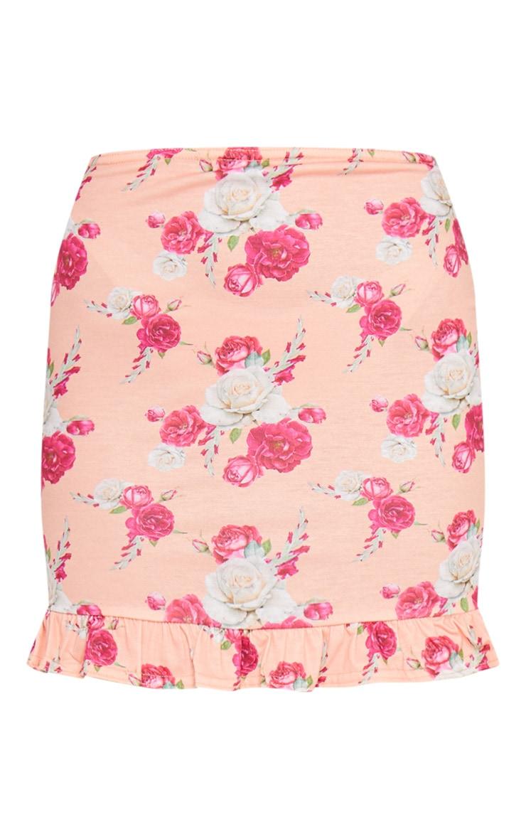 Peach Printed Jersey Frill Hem Mini Skirt 6