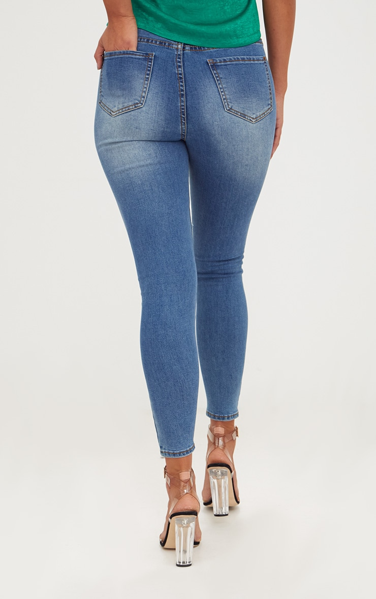 Mid Wash Open Thigh Skinny Jean 4