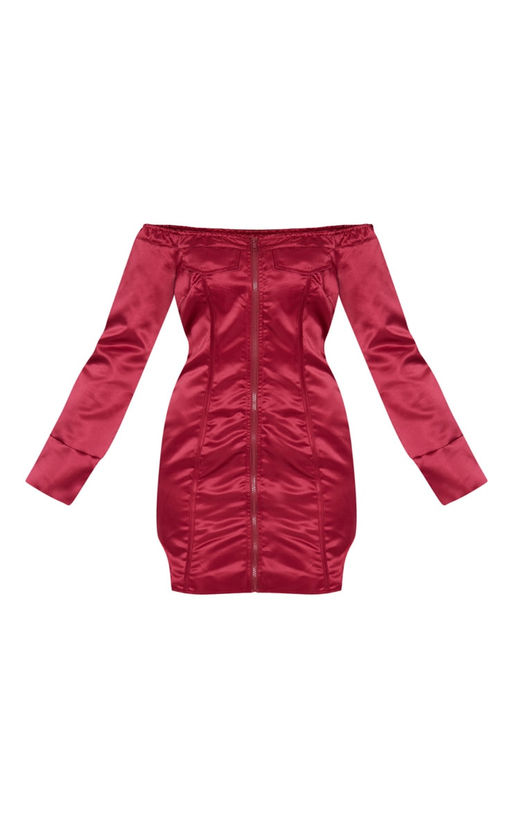 Robe moulante en maille bordeaux à zip et détail coutures 5