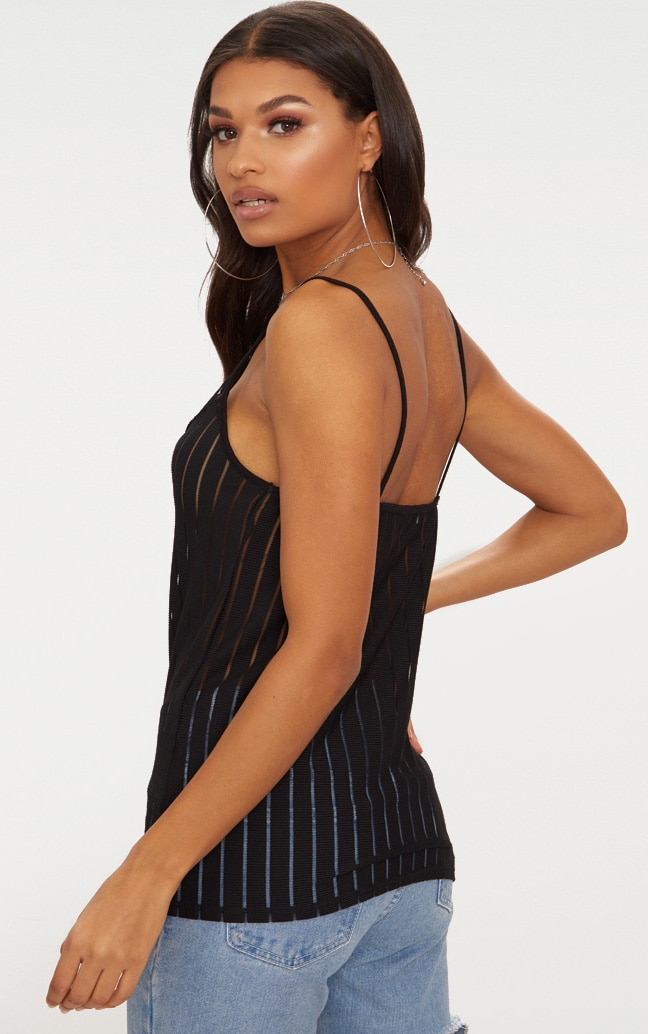 Black Lace Trim Mesh Stripe Cami Top  2