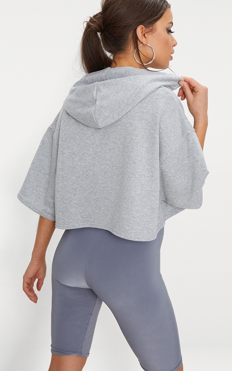 Grey Crop Sweat Hoodie 2