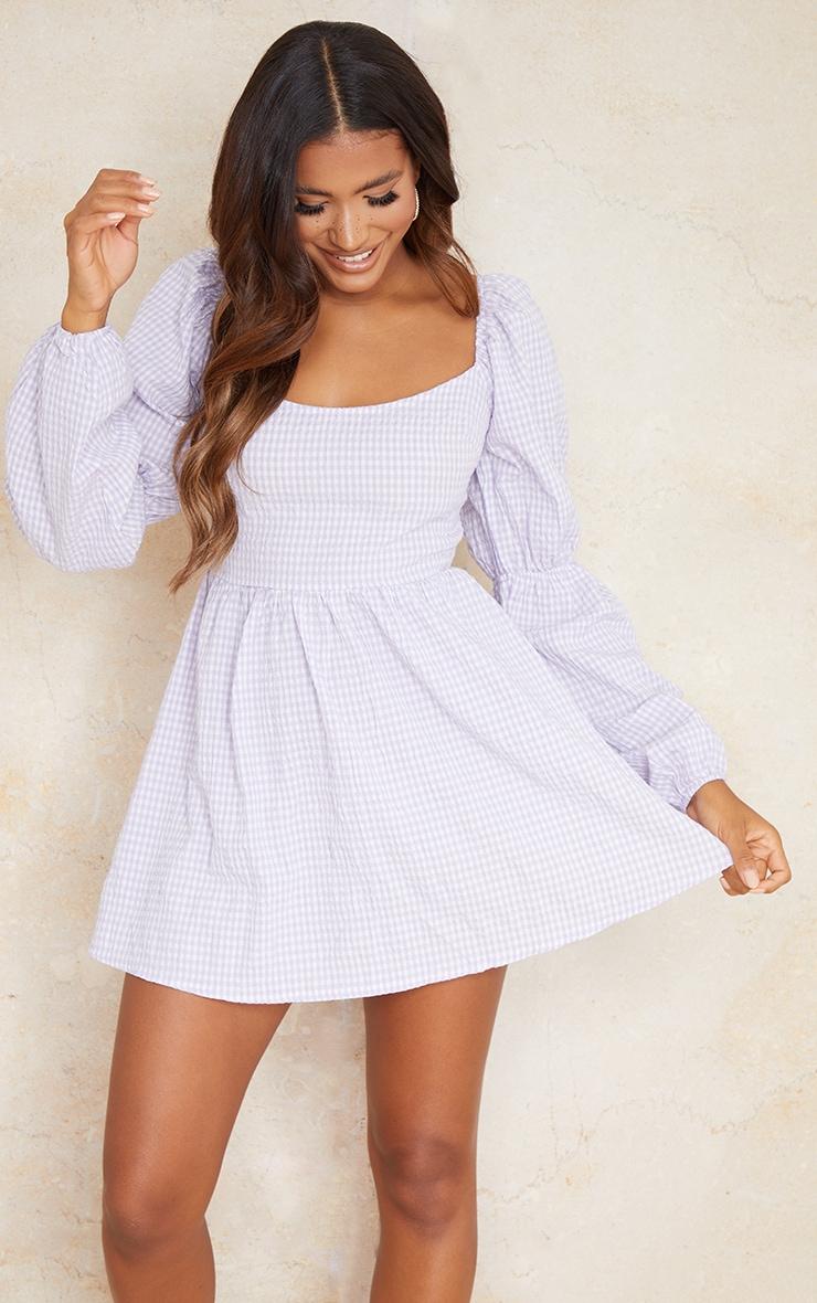 Lilac Textured Gingham Balloon Sleeve Shift Dress 1