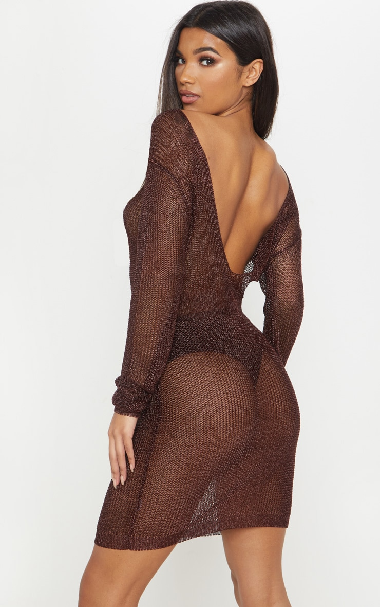 Brown Plunge Back Metallic Knitted Dress 3