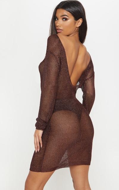 Brown Plunge Back Metallic Knitted Dress