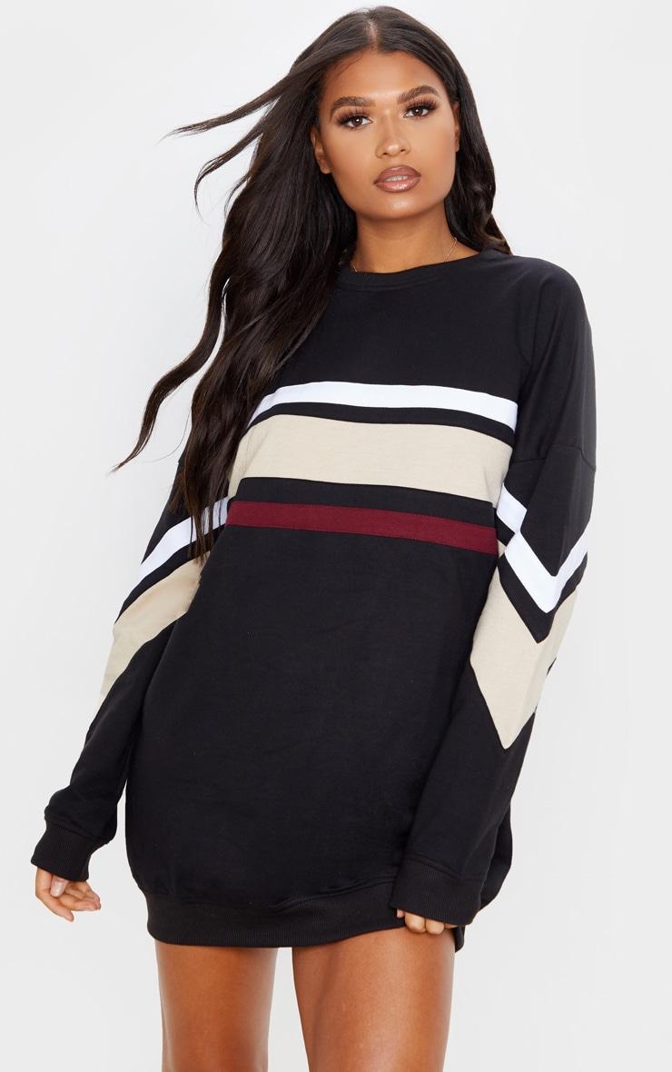 Black Contrast Stripe Detail Sweat Dress 5