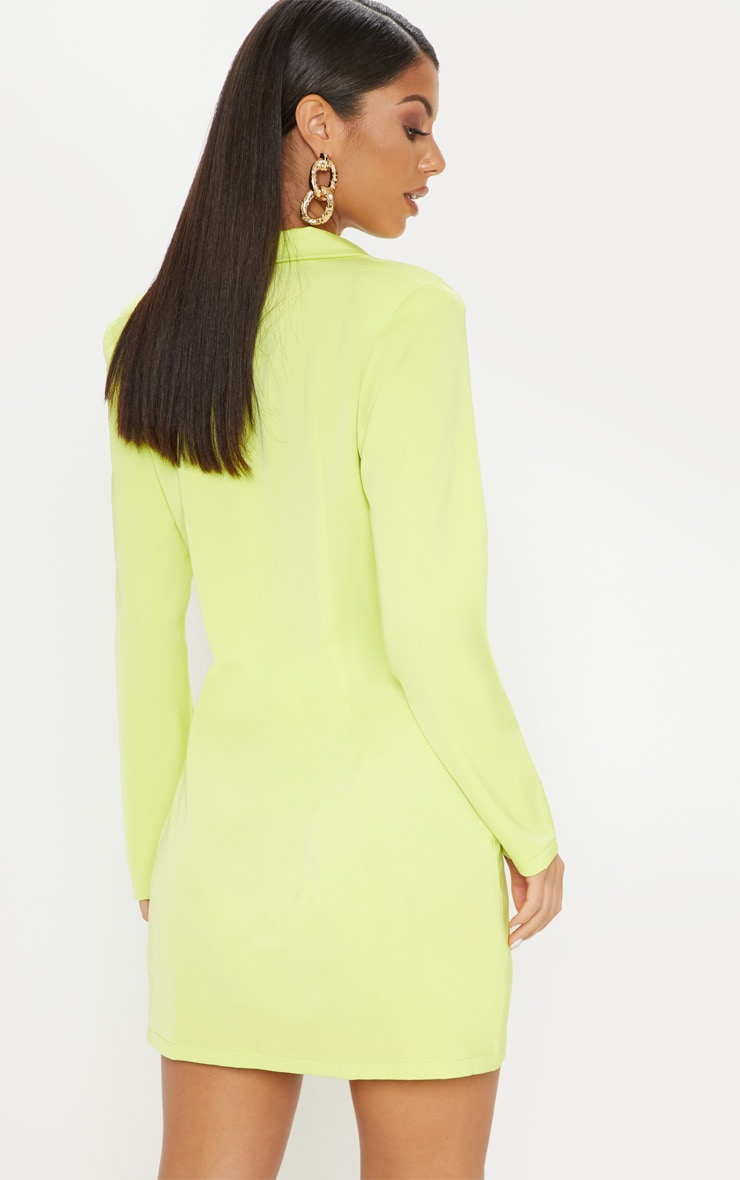 Neon Lime Long Sleeve Blazer Dress 2