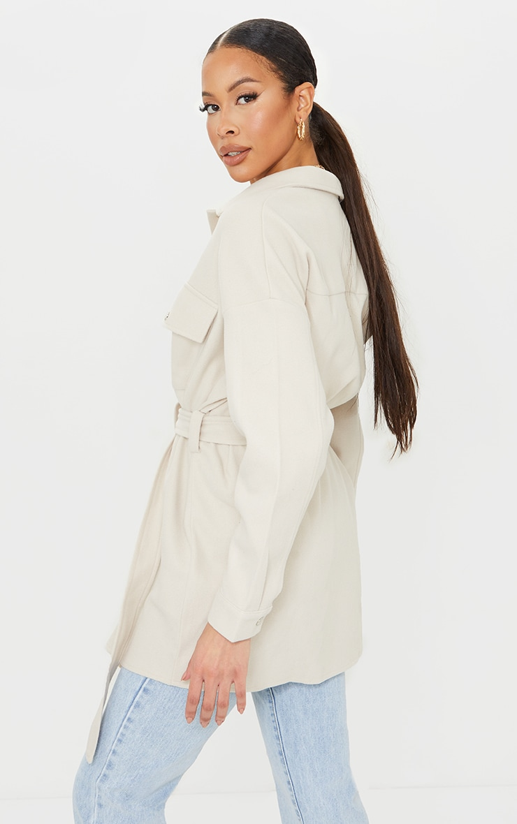 Tall Cream Oversized Wrapped Shacket 2