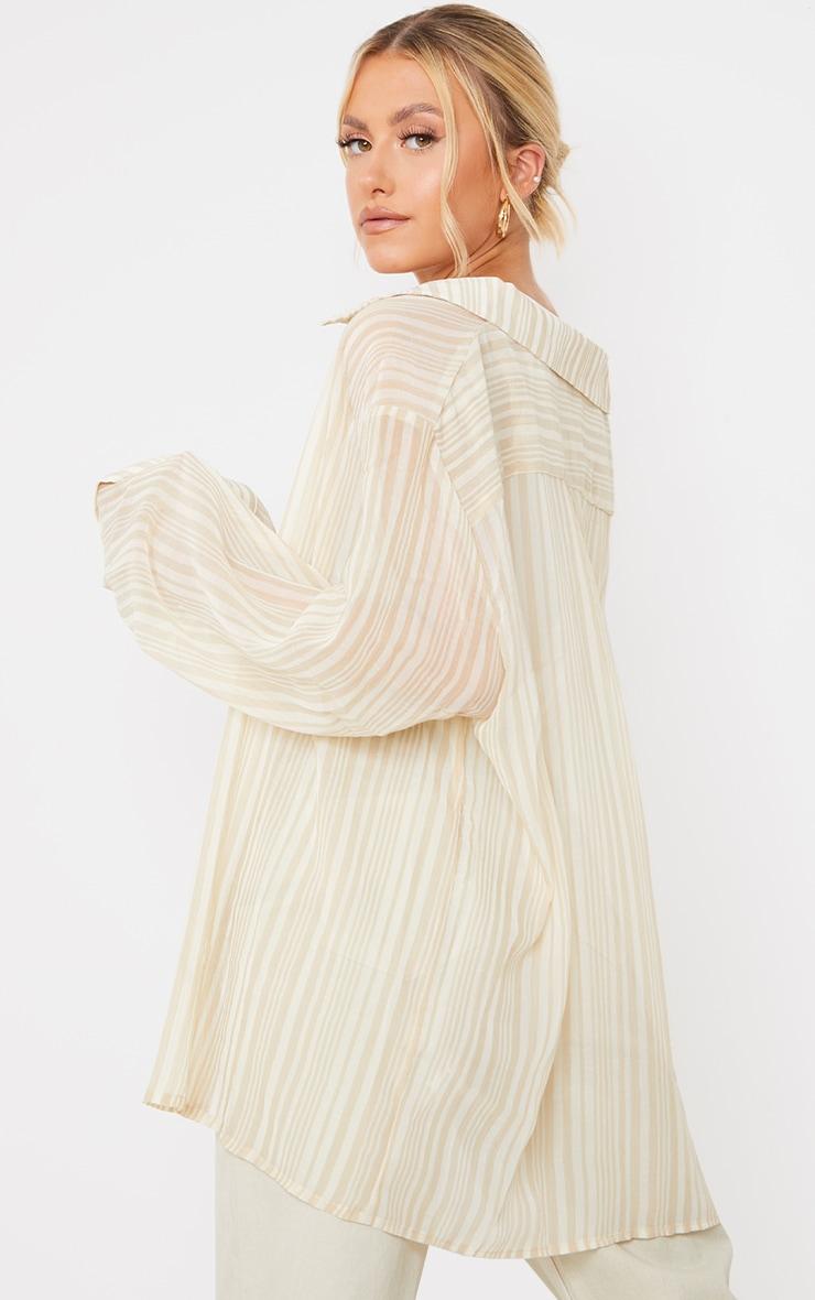 Beige Textured Stripe Woven Oversized Shirt 2