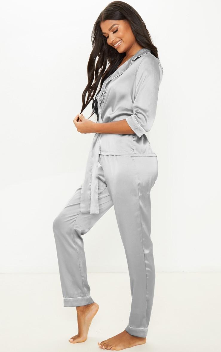 Grey Satin Wrap Kimono PJ Set 4