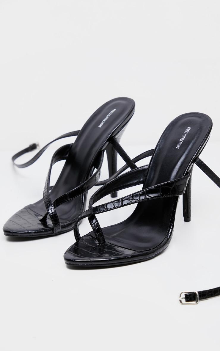 Black Croc Low Heel Toe Thong Ankle Strap Sandal 4
