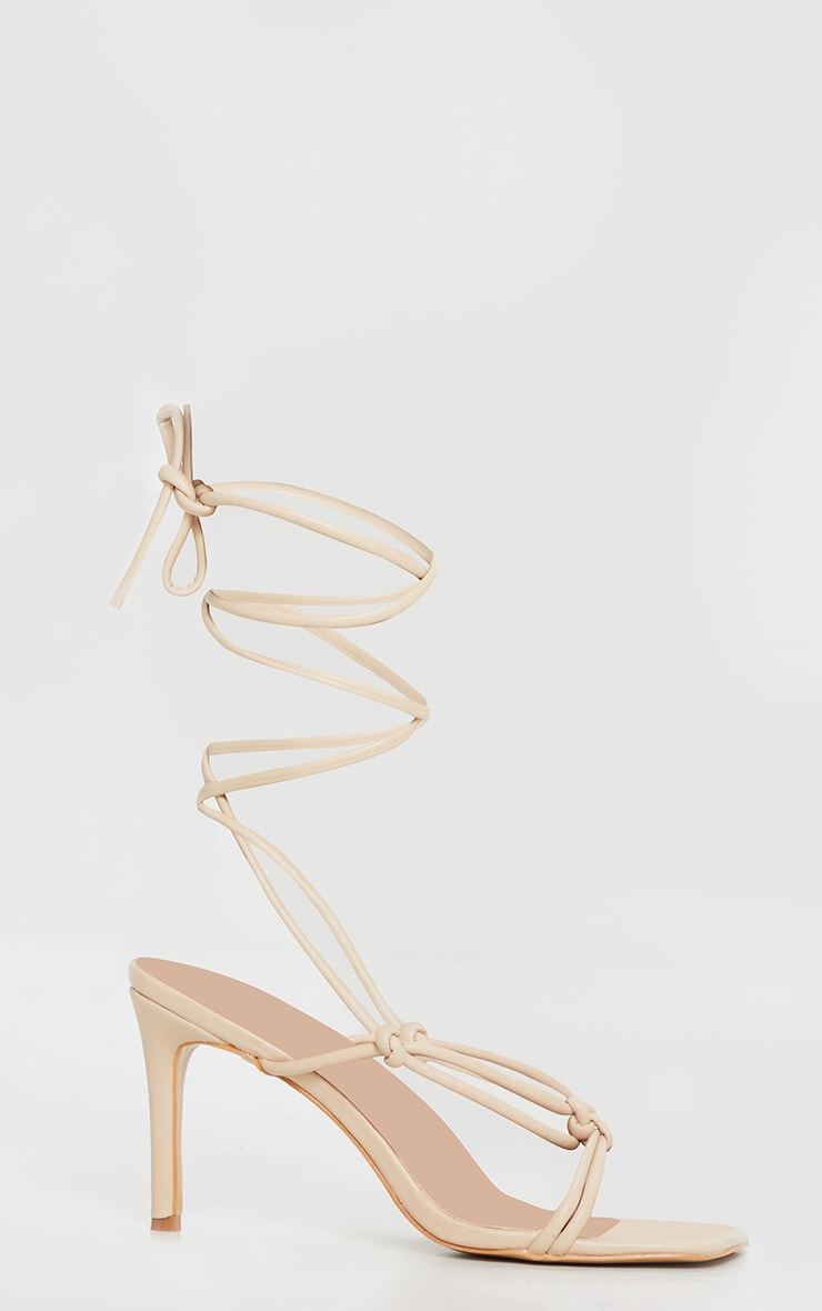 Nude Square Toe Mid Heel Lace Up Sandals 3