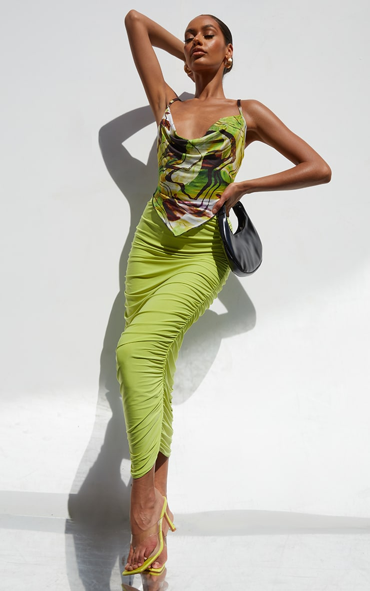 Lime Abstract Swirl Print Slinky Cowl Neck Pointed Hem Crop Top 3
