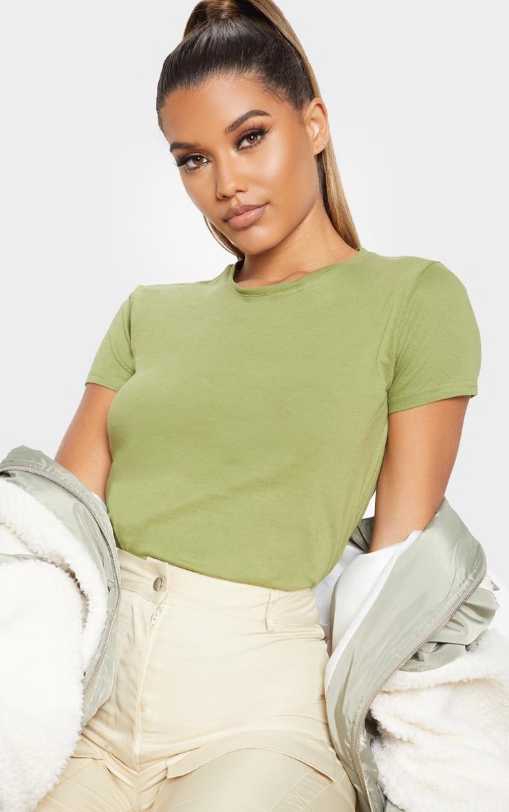 Sage Khaki Fitted Short Sleeve T Shirt 1