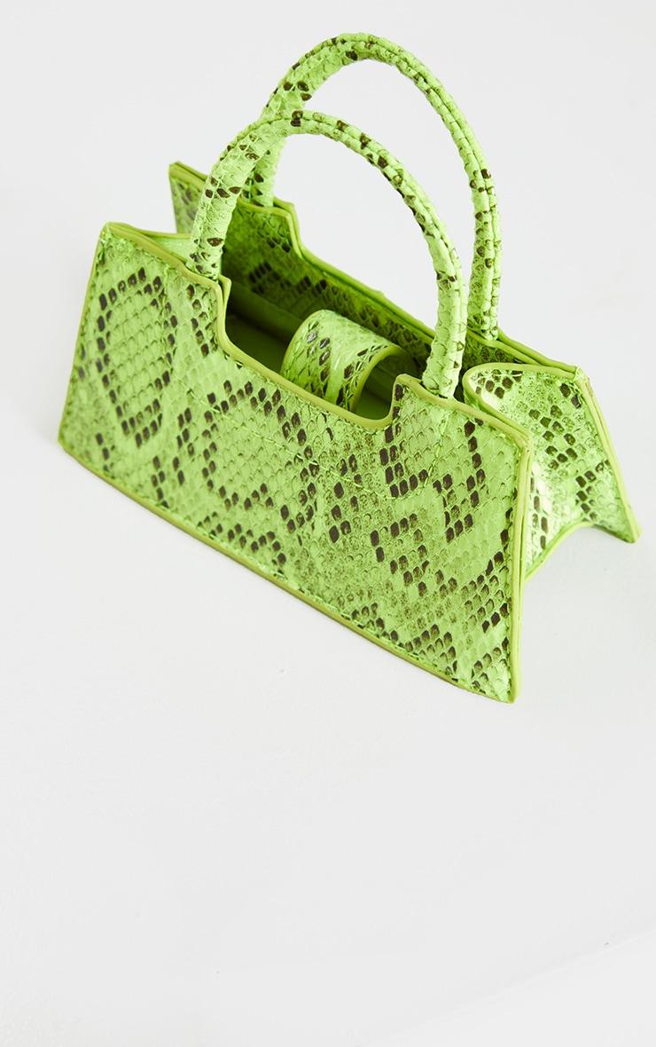 Mini-sac trapèze imitation croco vert fluo 2