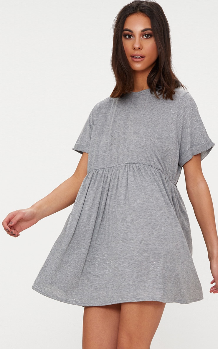 Grey Marl Jersey Oversized Smock Dress 1