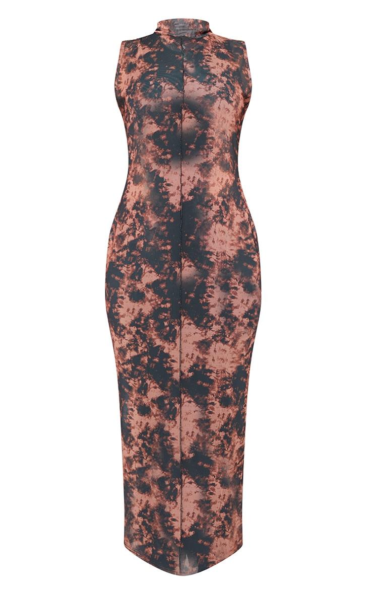 Plus Rust Tie Dye Mesh High Neck Midaxi Dress 4