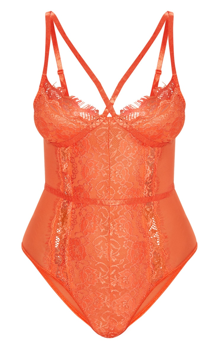 Burnt Orange Cross Front Mixed Lace Body 7
