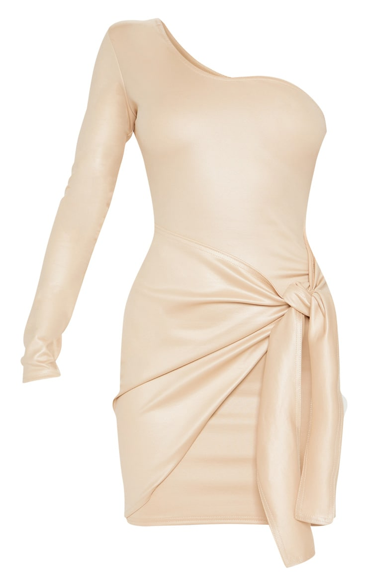 Nude Matte PU One Shoulder Wrap Dress 3
