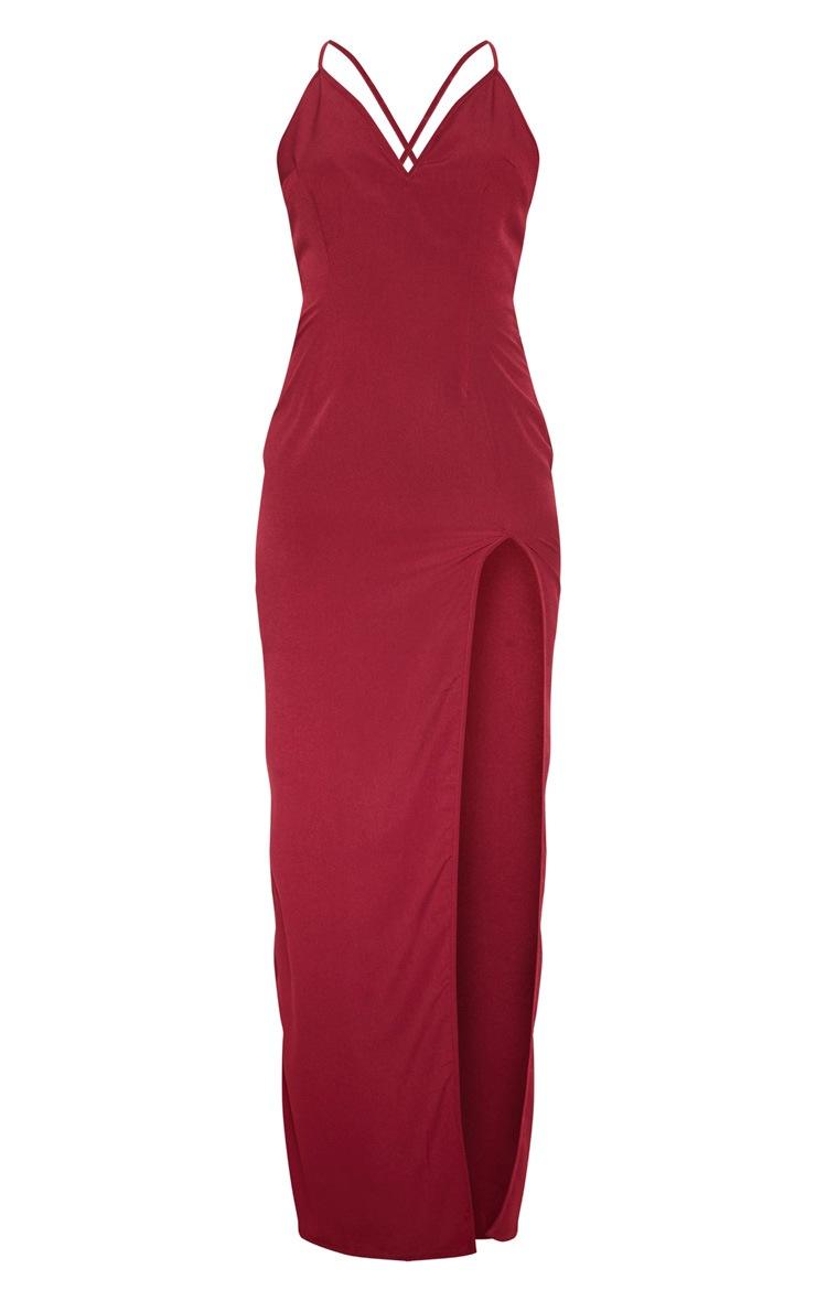 Burgundy Strappy Cross Back Maxi Dress 3