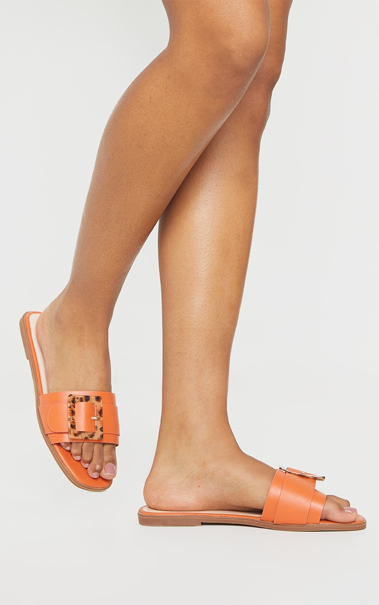 Orange Tortoise Buckle Mule Sandals 2