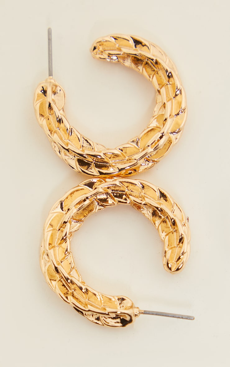 Gold Textured Twist Hoop Earrings 2