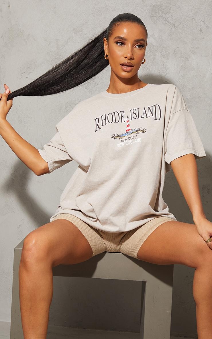 Sand Rhode Island Washed Printed T Shirt 1