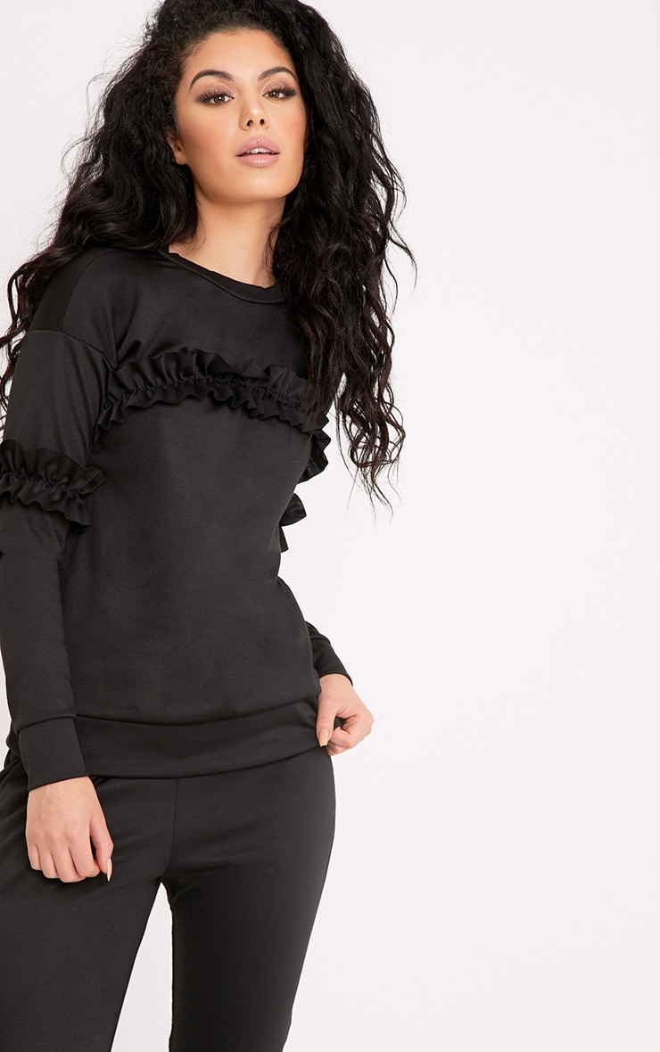 Anabell Black Frill Sweater 1