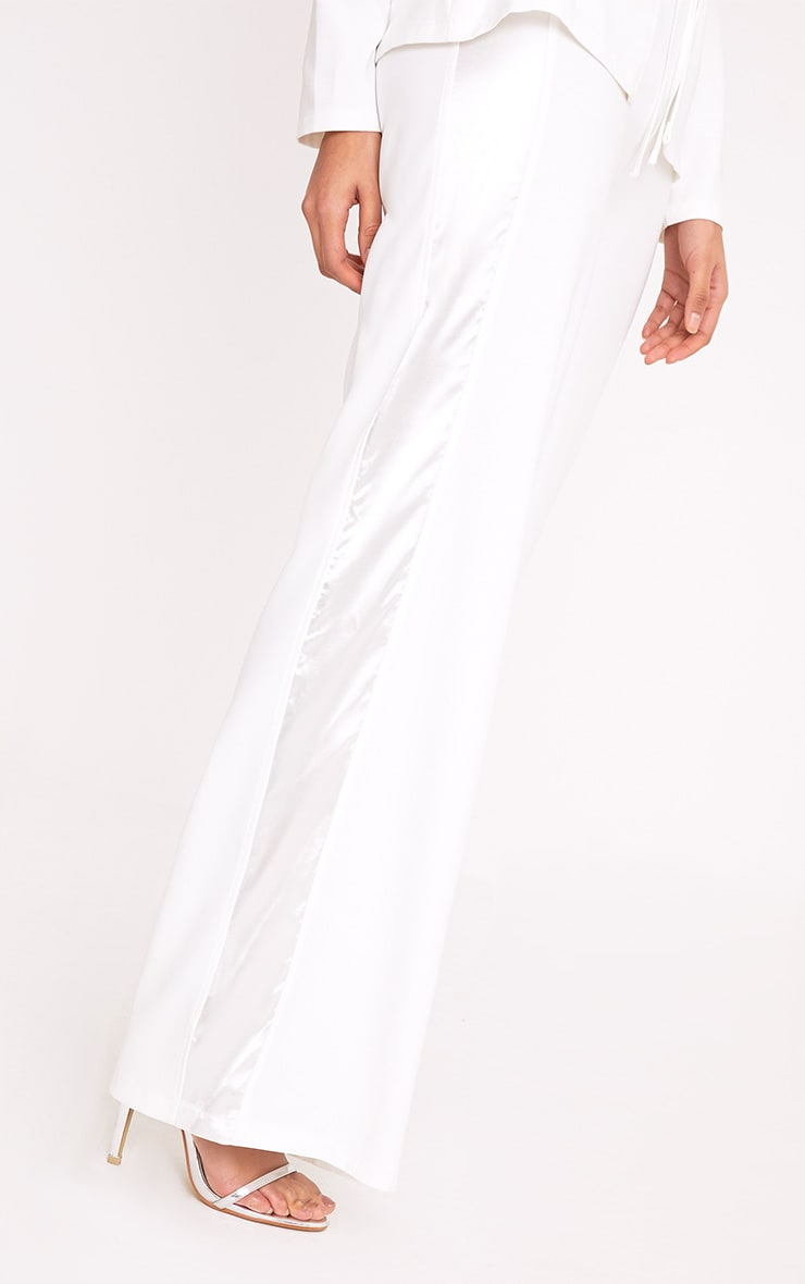 Rayla White Wide Leg Satin Stripe Suit Trousers 5