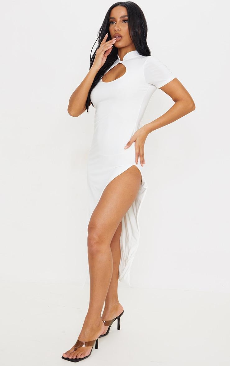 White Slinky Short Sleeve High Neck Detail Split Midaxi Dress 3