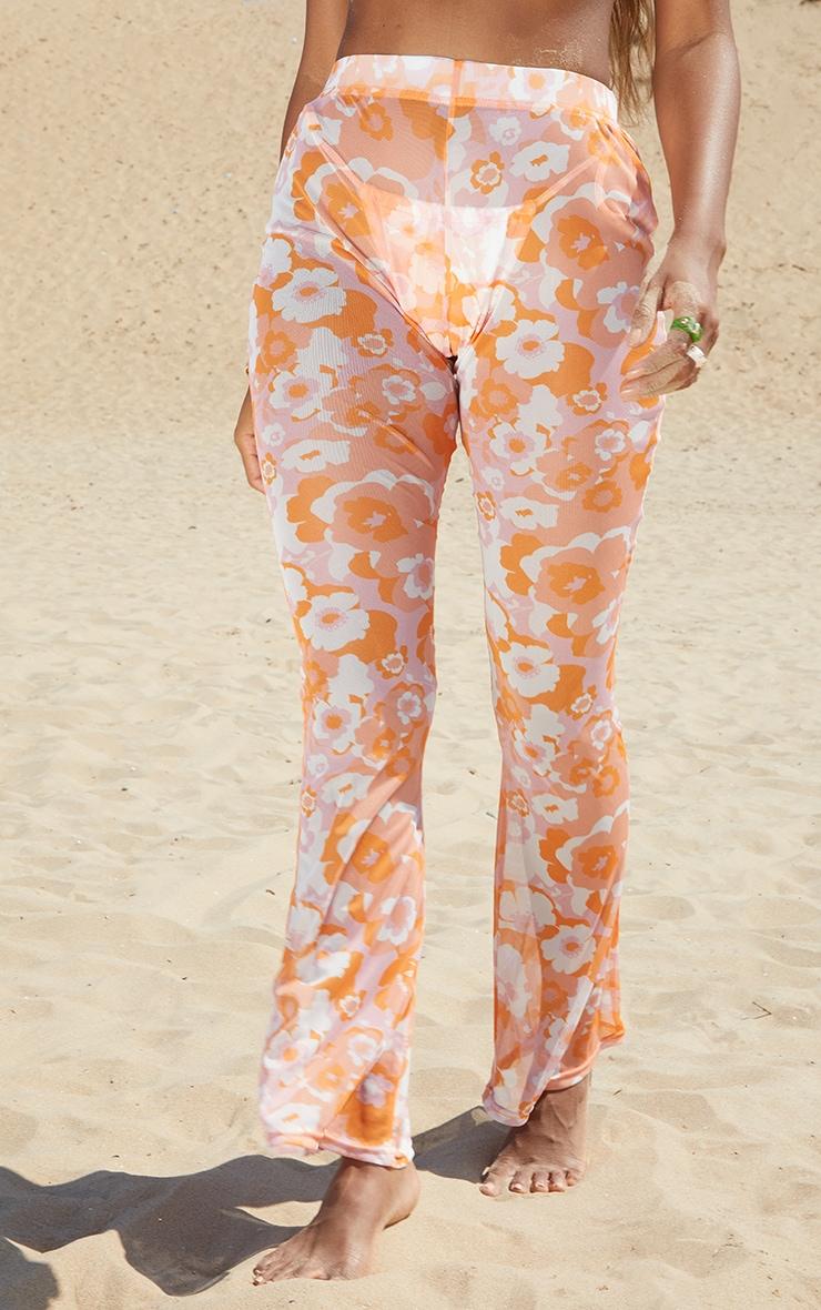 Orange Floral Print Mesh Beach Flares 2