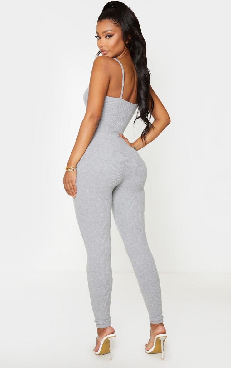 Shape Grey Brushed Rib Strappy Jumpsuit 2