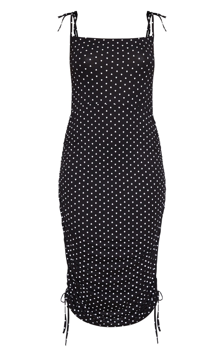 Black Heart Print Tie Strap Ruched Midi Dress 5