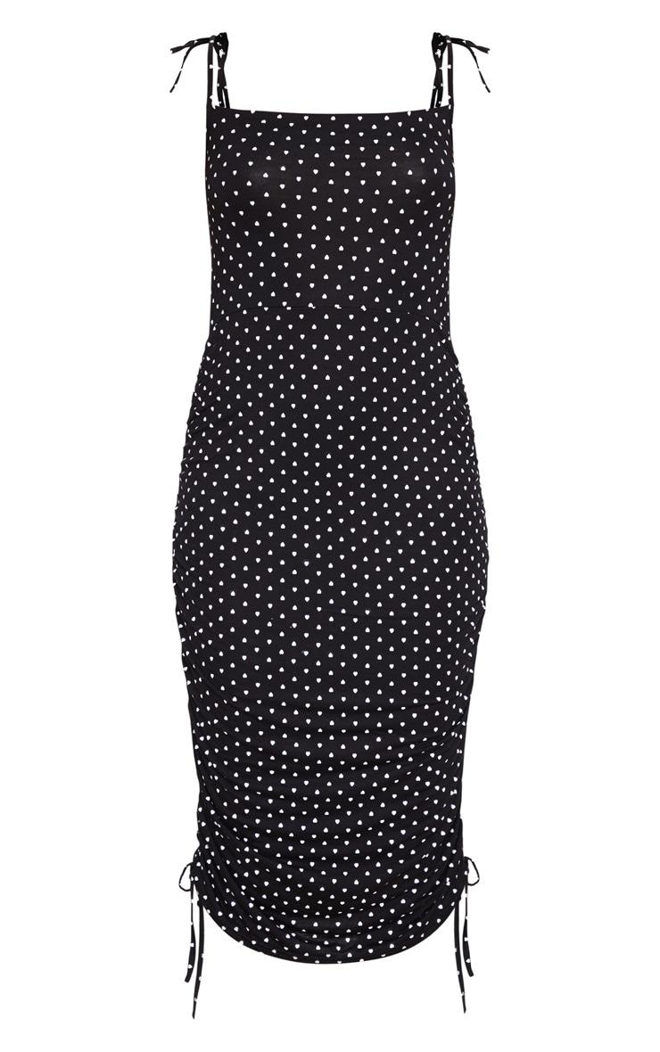 Black Heart Print Tie Strap Ruched Midi Dress 5