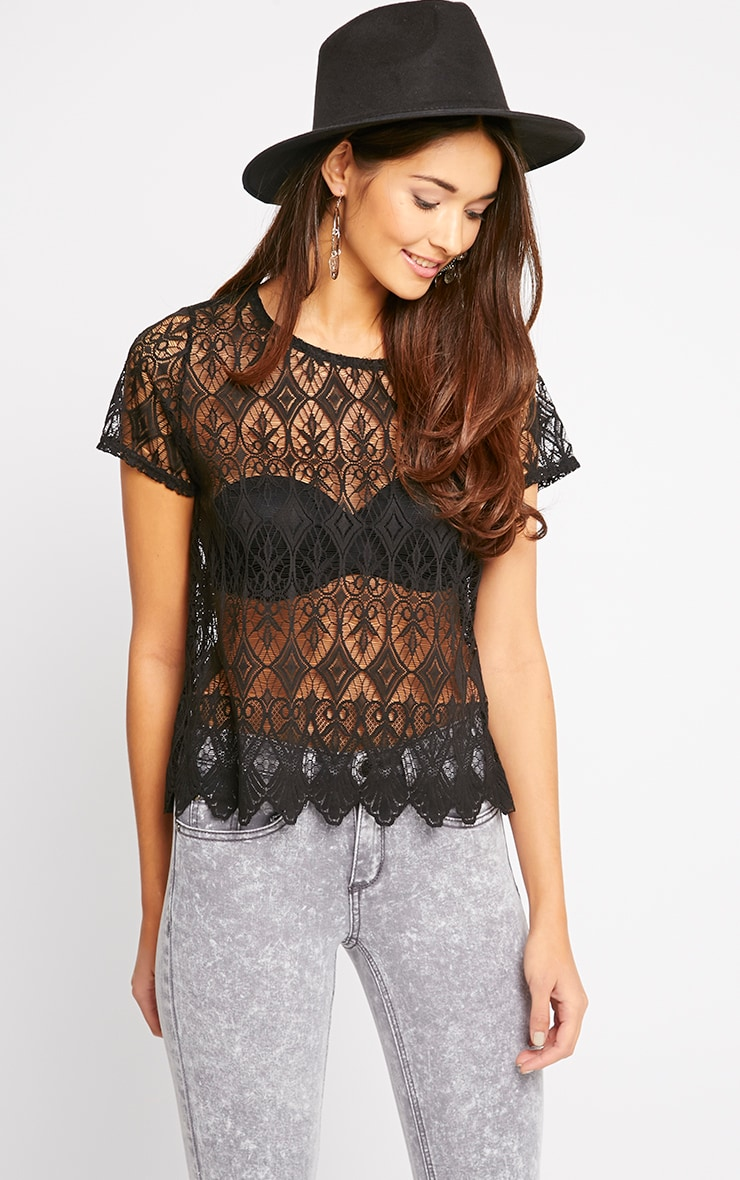 Nina Black Scallop Trim Lace Top  1