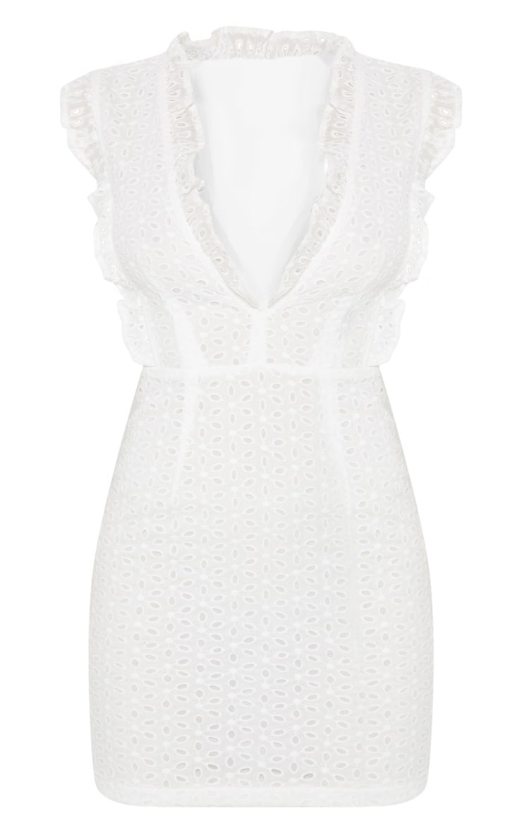 White Broderie Anglaise Ruffle Detail Plunge Bodycon Dress 3