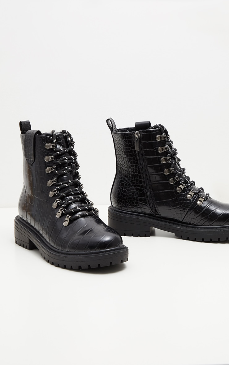 Black Croc Hiker Boot 3