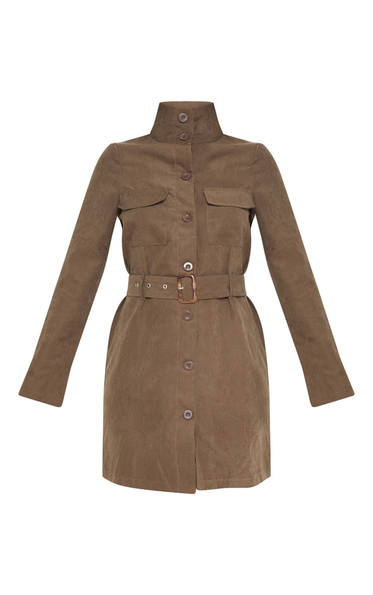 Chocolate Faux Suede Button Front Belted Cargo Dress 3