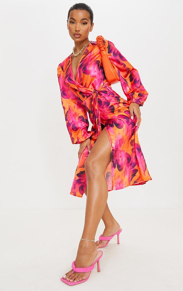 Orange Abstract Print Satin Balloon Sleeve Wrap Midi Dress 1