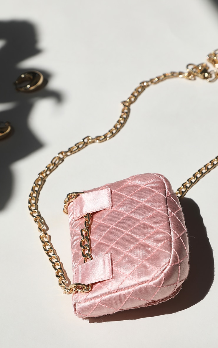 Pink Quilted Bag Gold Chain Belt 4