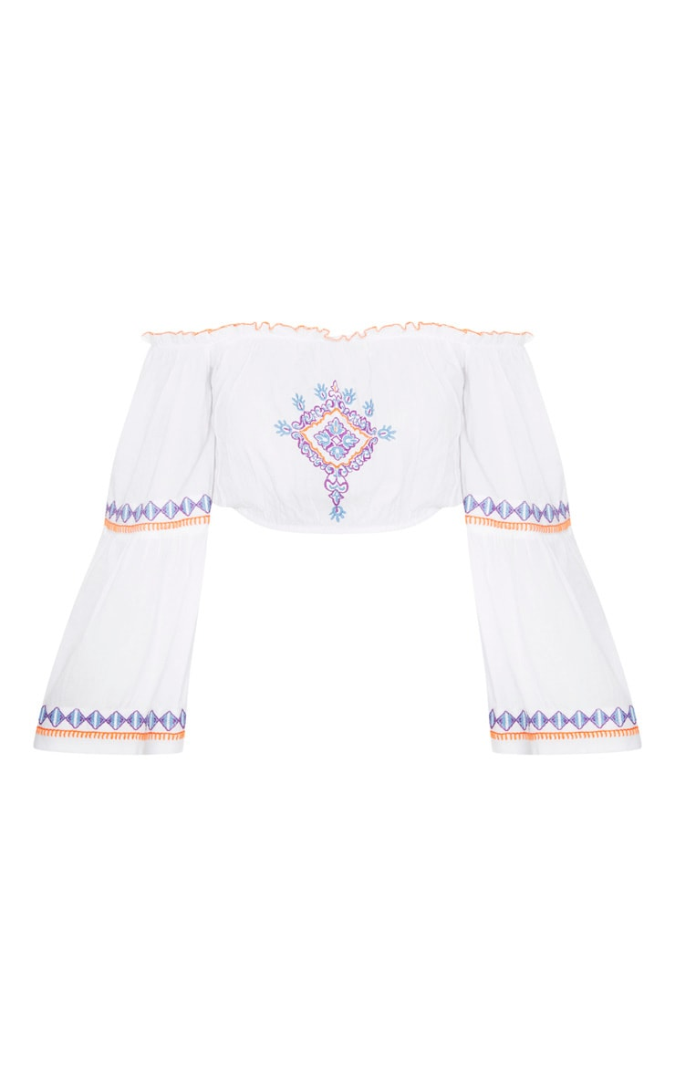 White Embroidered Bardot Top 3