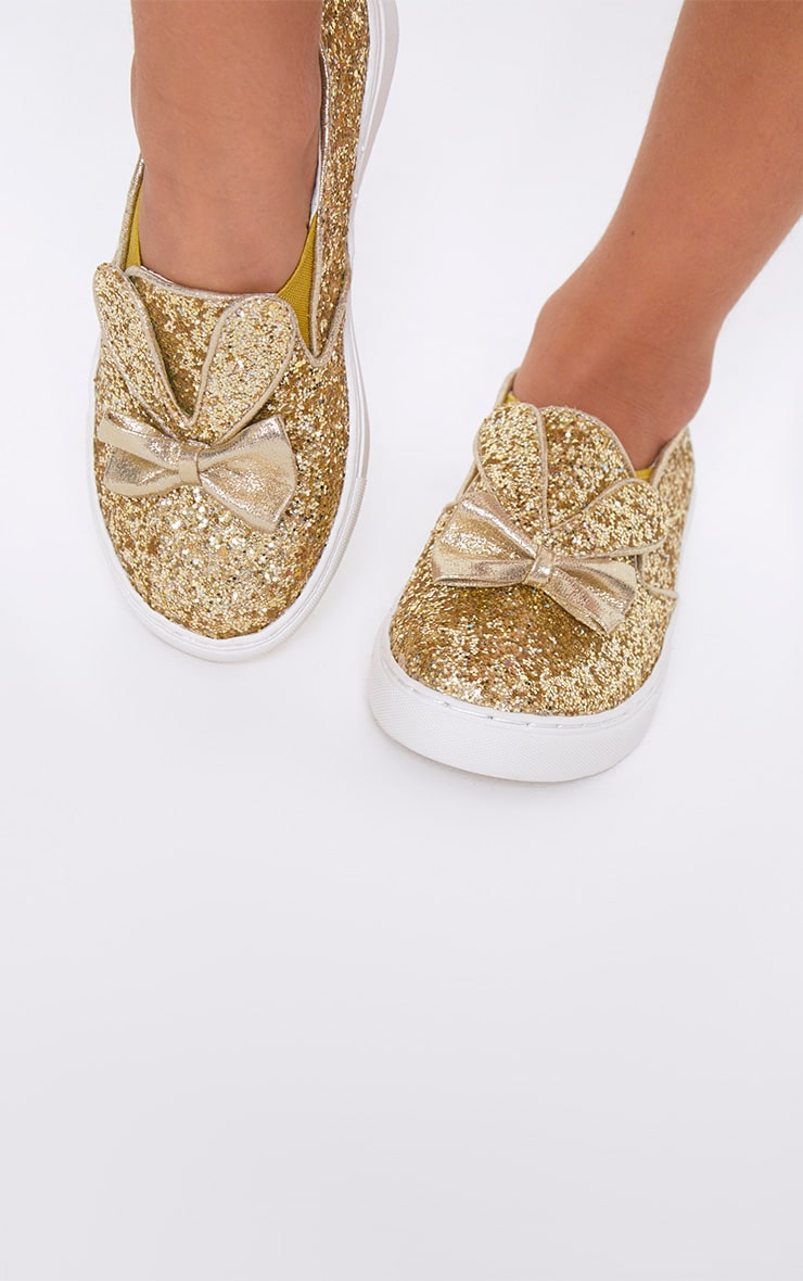Gold Glitter Bunny Ear Trainers 3