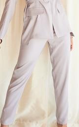 Grey Woven High Waist Cigarette Trousers 4