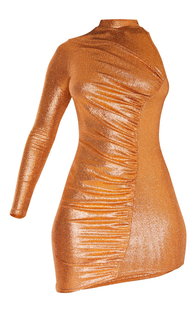 Rust Metallic Glitter High Neck Ruched One Shoulder Bodycon Dress 3