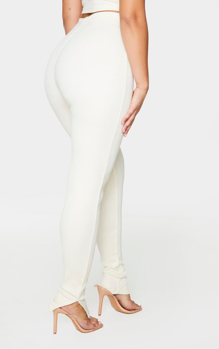 Cream Thick Rib High Waist Split Hem Pants 3