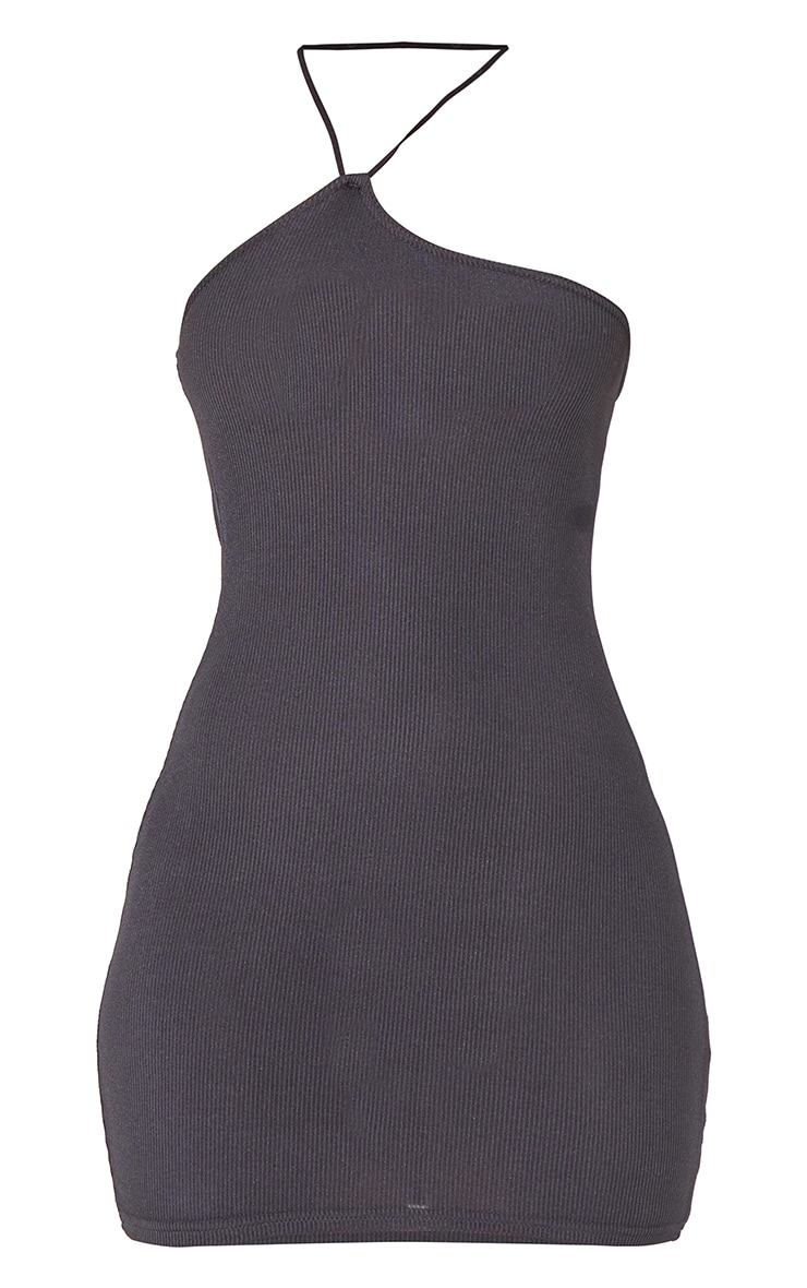 Black Ribbed Asymmetric Neck Detail Bodycon Dress 5