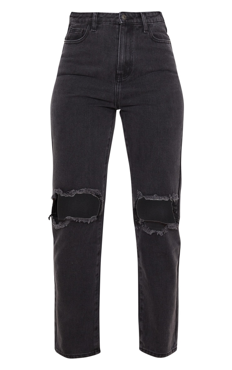 PRETTYLITTLETHING Washed Black Knee Rip Straight Leg Jean 3