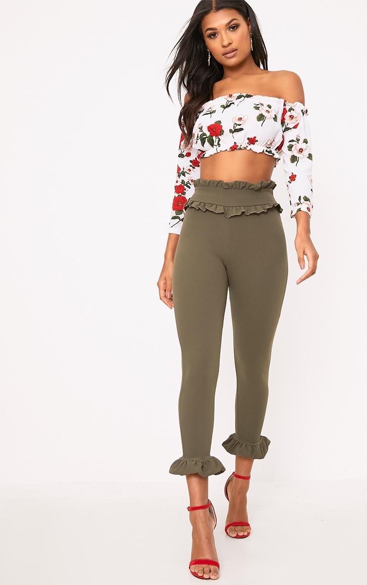 Khaki Keren Frill Hem Trousers 1